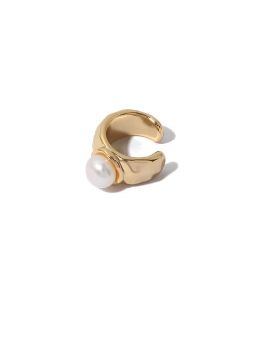 Gold (single ) Brass Imitation Pearl Geometric Minimalist Single Earring