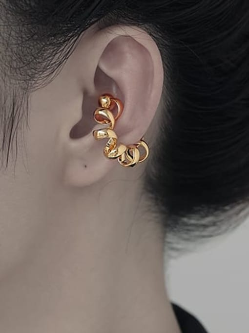 TINGS Brass Geometric Hip Hop Single Earring 2