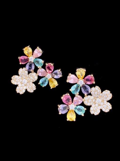 SUUTO Brass Cubic Zirconia Flower Trend Stud Earring 3