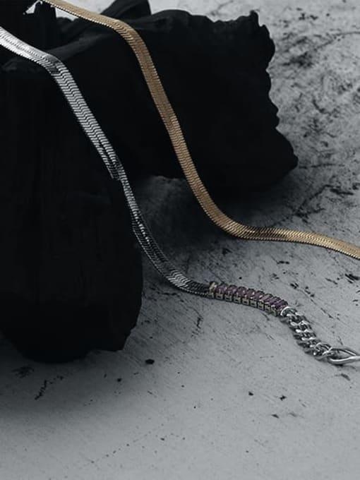 TINGS Brass Cubic Zirconia Geometric Vintage Snake Bone Chain  Necklace 3