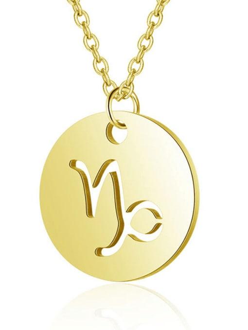 Capricorn gold Titanium Steel Constellation Minimalist  Round Pendant Necklace