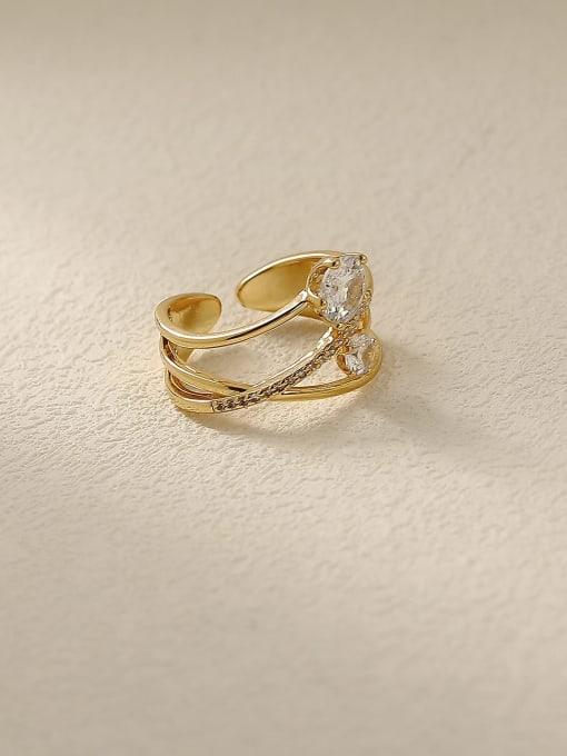 HYACINTH Brass Rhinestone Cross Minimalist Stackable Ring 0