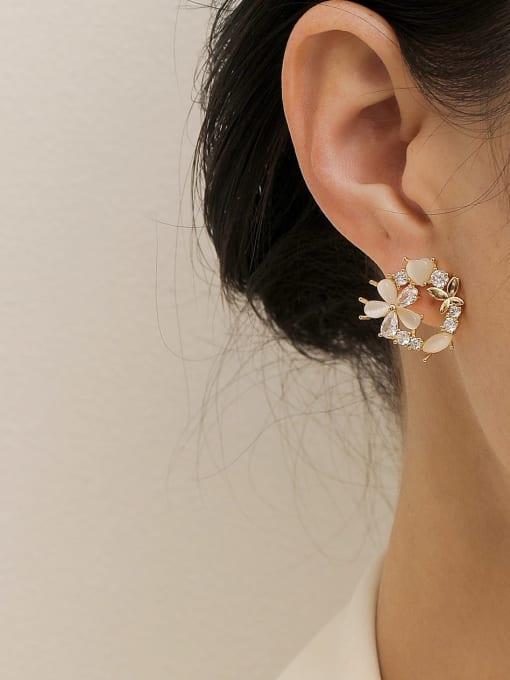 HYACINTH Brass Cats Eye Flower Cute Stud Earring 1