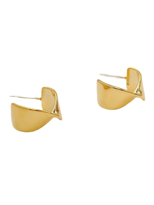 HYACINTH Brass Smooth Irregular Hip Hop Stud Earring 0
