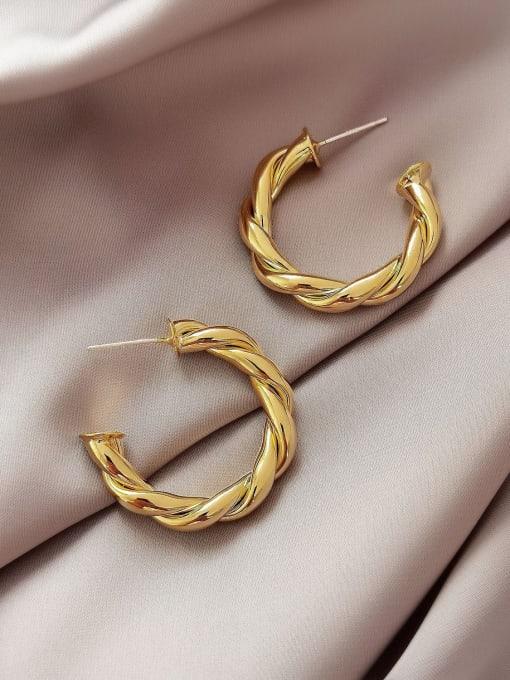 14k Gold  30mm Brass  Twist Geometric Vintage Hoop Earring
