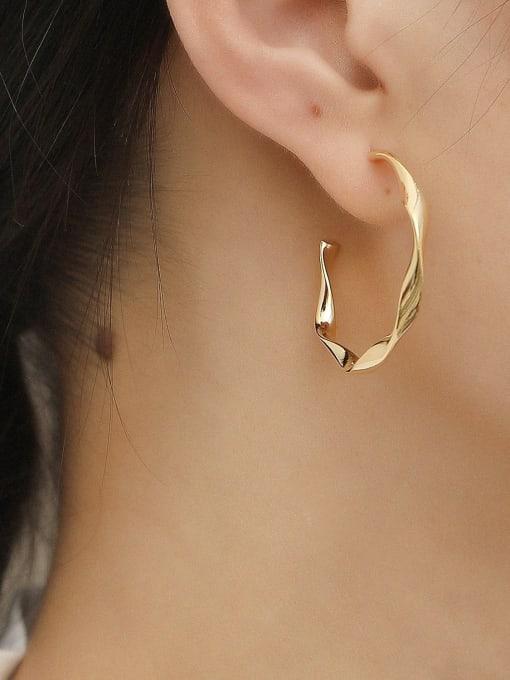 HYACINTH Brass Round Minimalist Hoop Trend Korean Fashion Earring 1