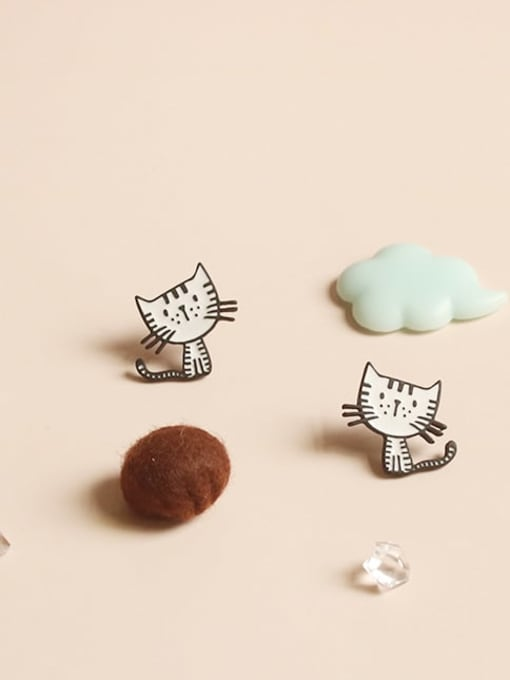 Five Color Alloy Enamel Cat Cute Stud Earring 0