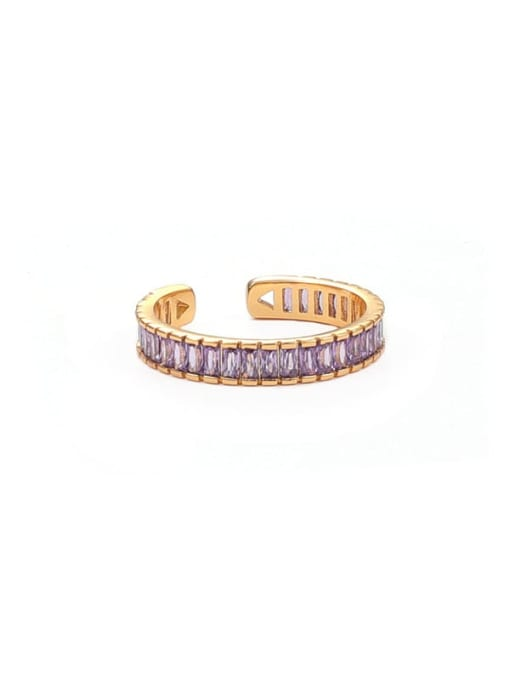 Purple Brass Cubic Zirconia Geometric Minimalist Band Ring