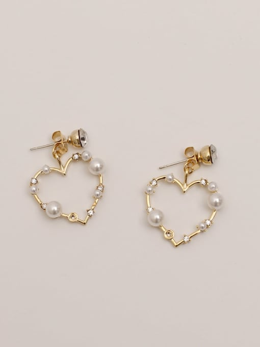 14K real gold Brass Imitation Pearl Heart Vintage Drop Earring