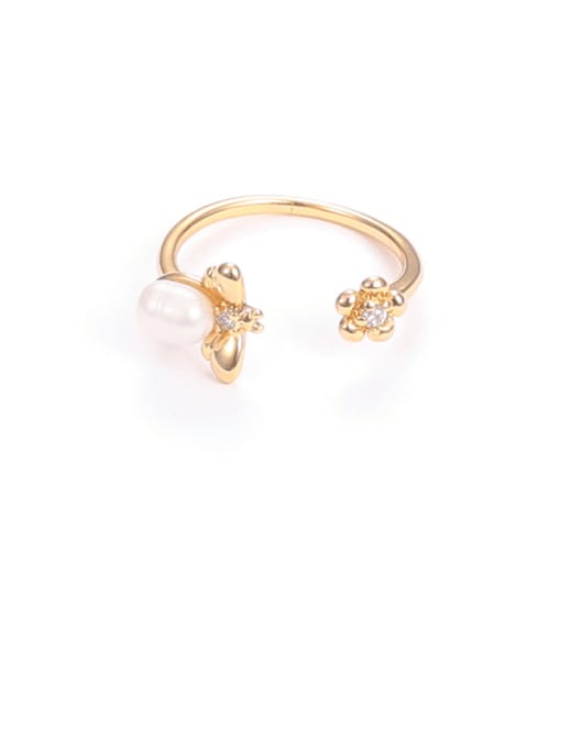 Bee ring Brass Imitation Pearl Flower Hip Hop Band Ring