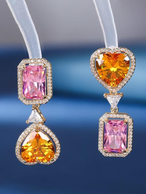 Pink square yellow love Brass Cubic Zirconia Heart Luxury Drop Earring