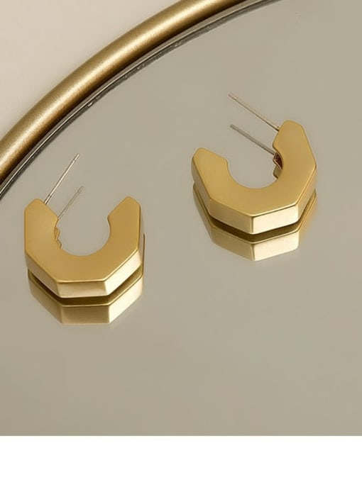14k gold Brass Smooth Irregular Minimalist Stud Earring