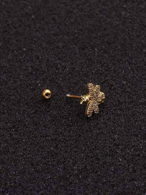 HISON Brass Cubic Zirconia Bee Cute Stud Earring 2