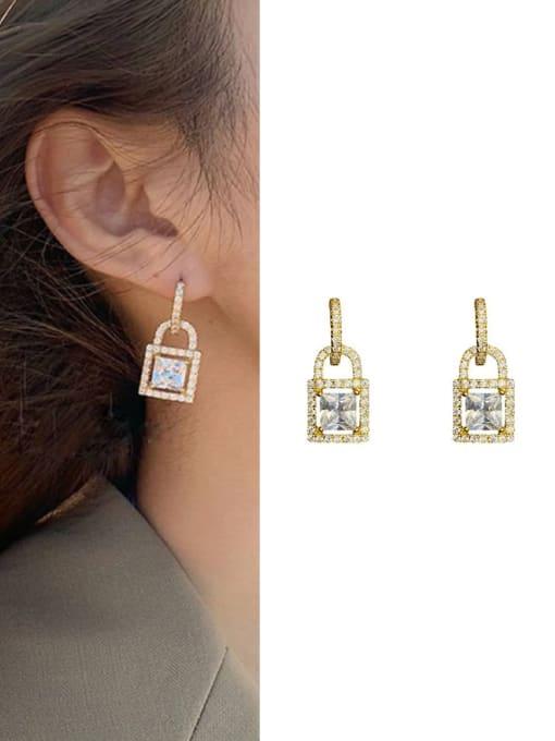 OUOU Brass Cubic Zirconia Locket Minimalist Huggie Earring 1