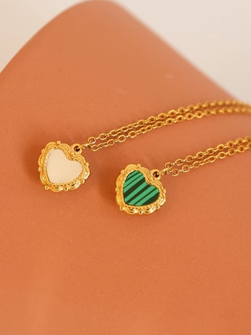 Five Color Brass Shell Heart Minimalist Necklace 0