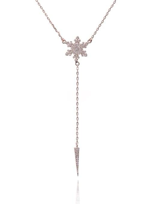 YILLIN Brass Cubic Zirconia Flower Minimalist Lariat Necklace