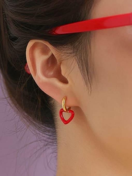 Five Color Brass Enamel Heart Minimalist Drop Earring 1