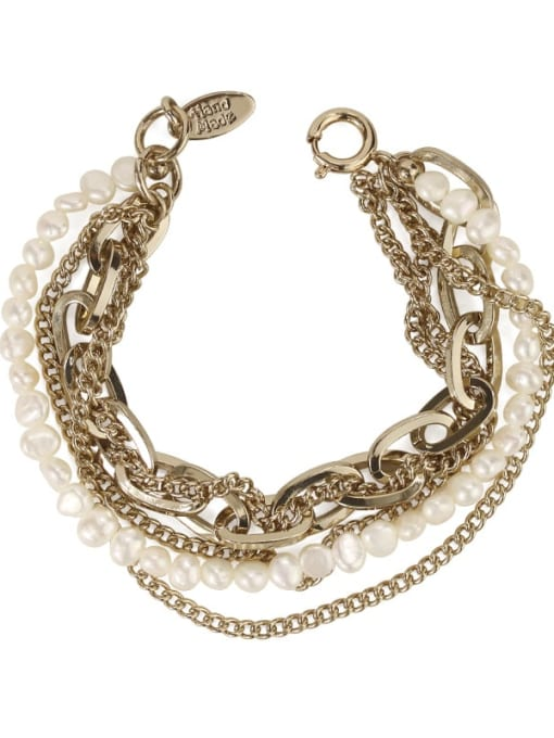 ACCA Brass Freshwater Pearl Geometric Vintage Strand Bracelet 2