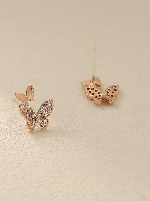 HYACINTH Brass Cubic Zirconia Butterfly Cute Stud Trend Korean Fashion Earring 3