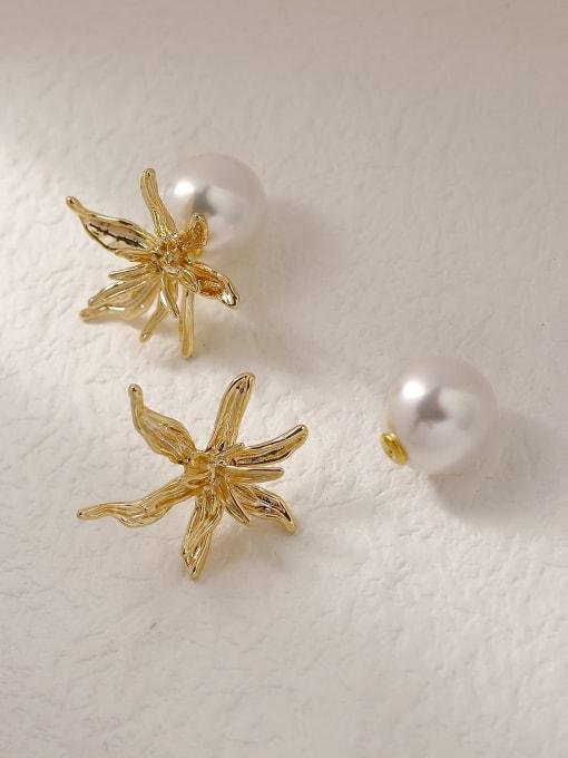 HYACINTH Brass Imitation Pearl Flower Vintage Stud Trend Korean Fashion Earring 0
