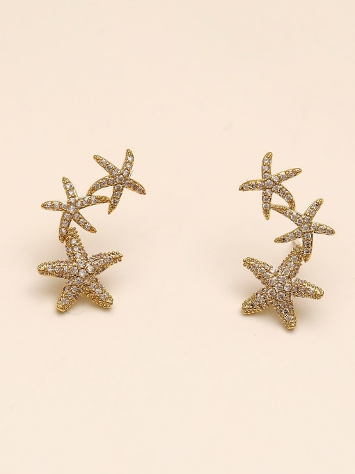 HYACINTH Brass Cubic Zirconia Star Classic Stud Earring