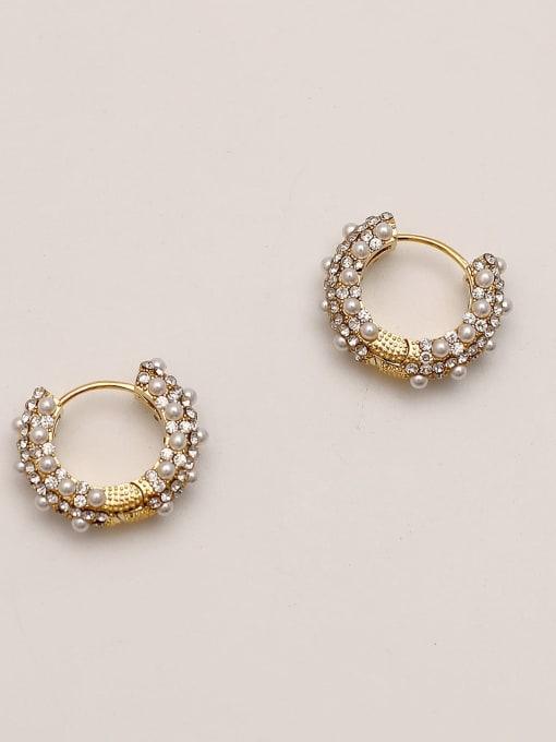 HYACINTH Brass Imitation Pearl Round Vintage Hoop Earring