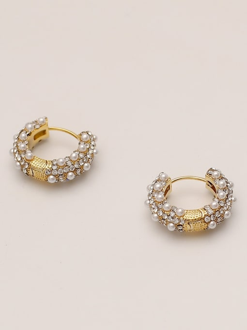 HYACINTH Brass Imitation Pearl Round Vintage Hoop Earring 1
