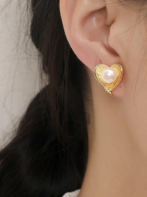 HYACINTH Brass Imitation Pearl Heart Vintage Stud Trend Korean Fashion Earring 1