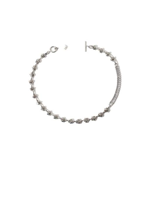 Platinum Brass Imitation Pearl Geometric Vintage Necklace