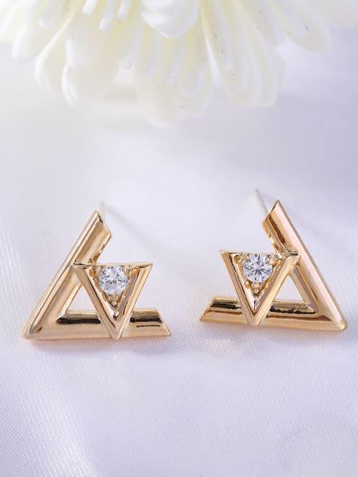 OUOU Brass Rhinestone Triangle Minimalist Stud Earring 1