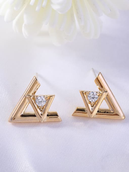 golden Brass Rhinestone Triangle Minimalist Stud Earring