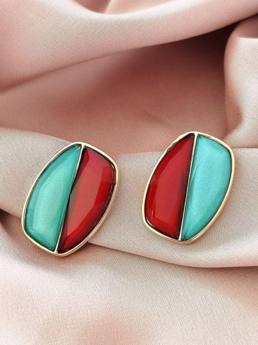 blue Brass Resin Geometric Vintage Stud Earring