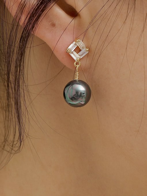 HYACINTH Brass Imitation Pearl Geometric Vintage Drop Earring 2