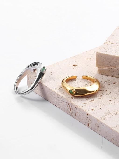 TINGS Brass Cubic Zirconia Geometric Hip Hop Band Ring 0