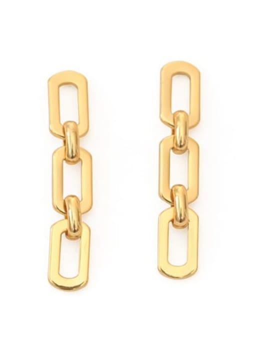 ACCA Brass Hollow Geometric chain Ethnic Drop Earring 0