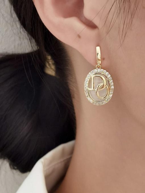 HYACINTH Brass Cats Eye Geometric Vintage Drop Earring 1