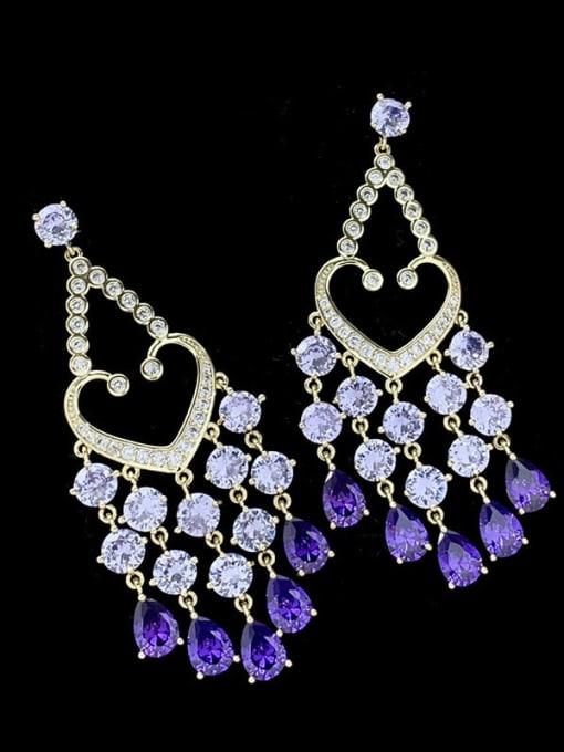 SUUTO Brass Cubic Zirconia Heart Tassel Luxury Drop Earring 2
