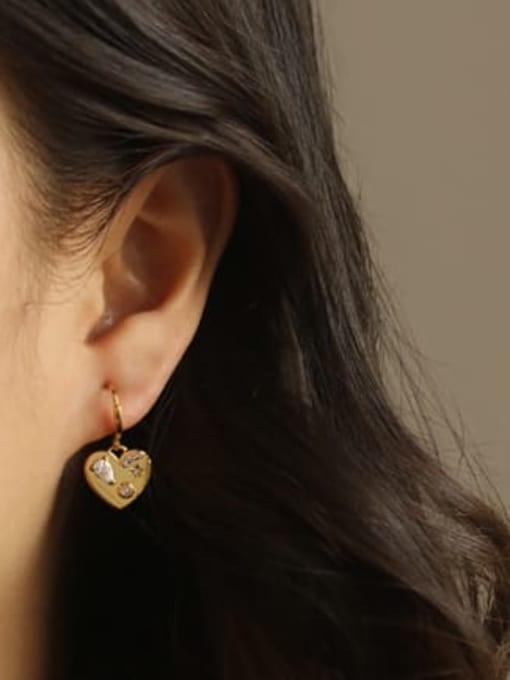 ACCA Brass Cubic Zirconia Heart Vintage Huggie Earring 1