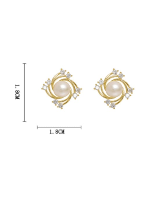 HYACINTH Brass Freshwater Pearl Geometric Trend Stud Earring 3