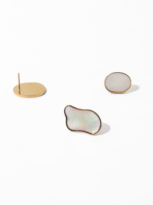 TINGS Brass Shell Geometric Minimalist Stud Earring 3