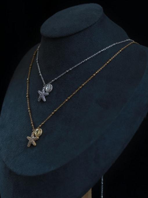Five Color Brass Cubic Zirconia Star Minimalist Necklace