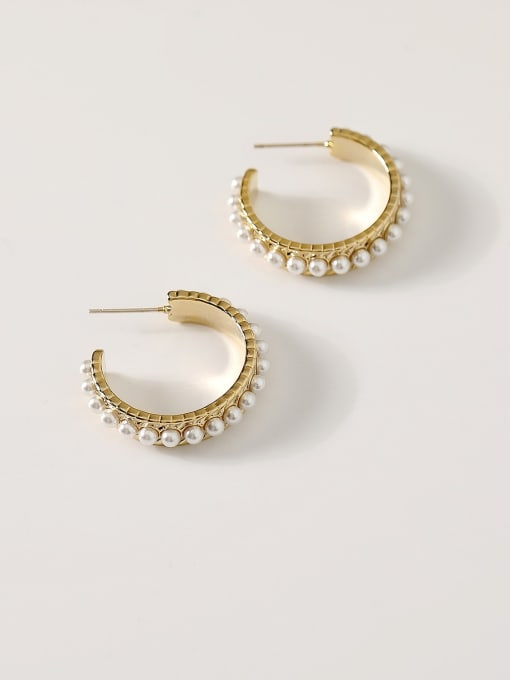 HYACINTH Brass Imitation Pearl Geometric Hip Hop Hoop Earring 0
