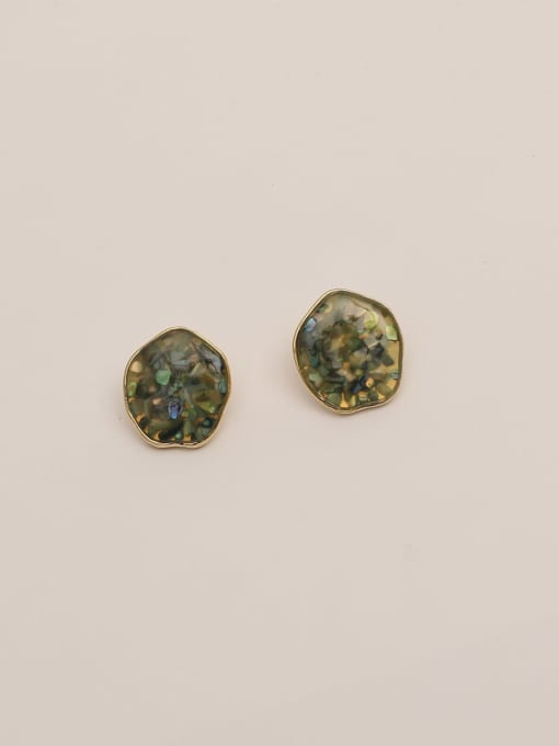 HYACINTH Brass Resin Geometric Ethnic Stud Earring 3