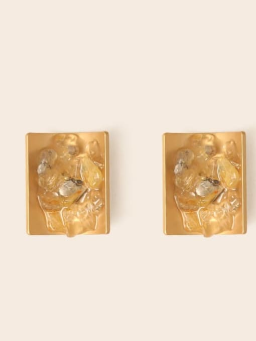 Five Color Alloy Resin Geometric Ethnic Stud Earring 2