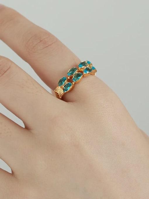 TINGS Brass Malchite Geometric Vintage Band Ring 1