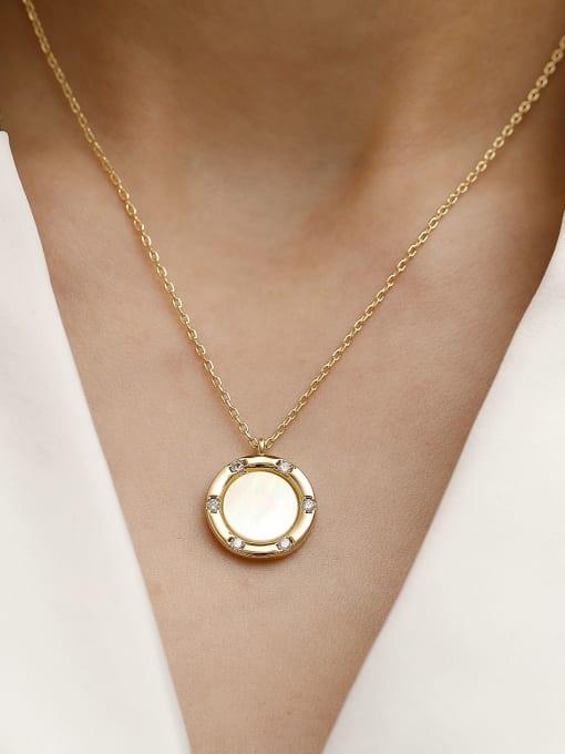 HYACINTH Brass Shell Geometric Minimalist Necklace 2