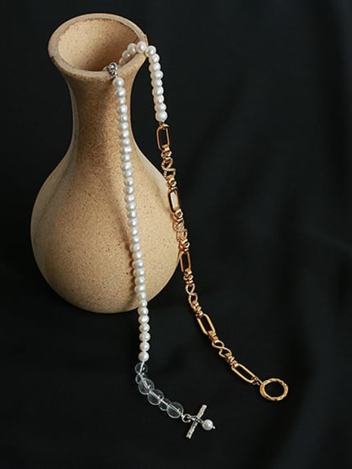 ACCA Brass Freshwater Pearl Asymmetry Geometric CHAIN Hip Hop Necklace 2
