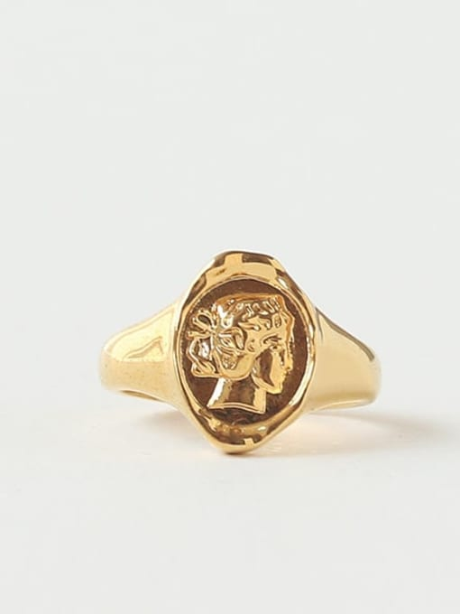 TINGS Brass Geometric Portrait Vintage Band Ring 2