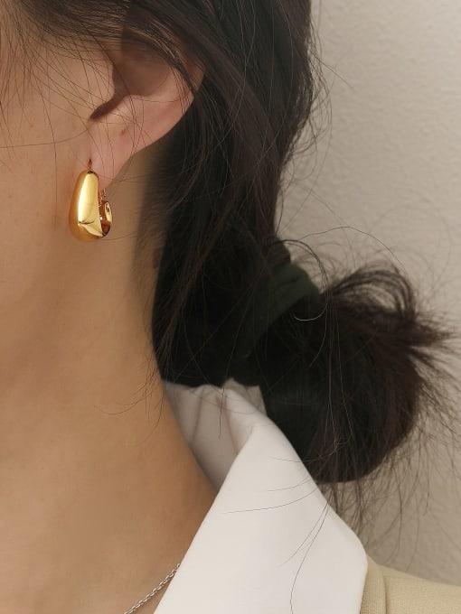 HYACINTH Brass Smooth Geometric Vintage Stud Earring 1