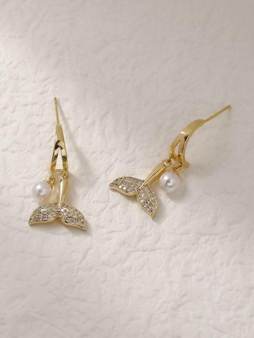 HYACINTH Brass Cubic Zirconia Fish Trend Drop Trend Korean Fashion Earring